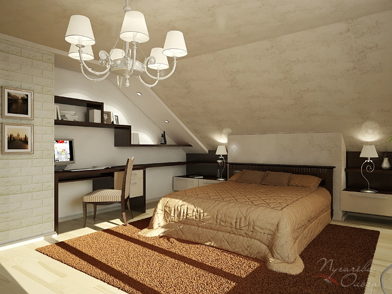 Спальня мансардная дизайн