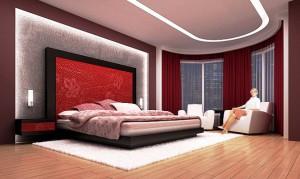 Розовая отделка спальной